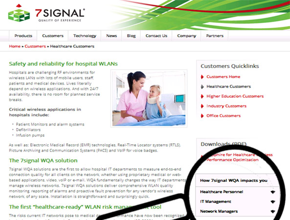 Image shows; 7signal desktop site with accordion menu