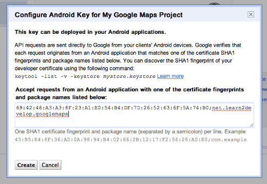 Configure key for Android project