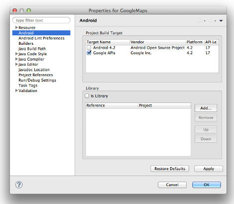 Android application creation dialog
