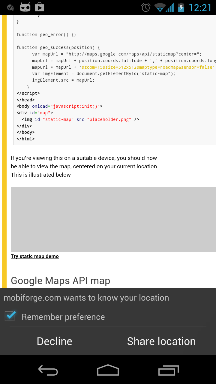 Image depicting android browser requesting access to location data