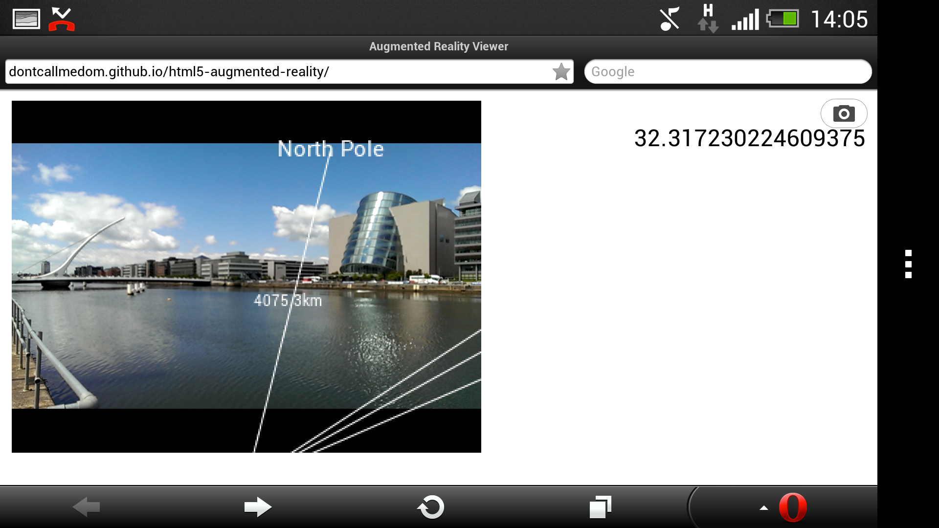 Web-based augmented reality proof of concept demo in mobile browser