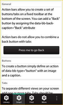 Adding the action bar at the bottom of the BB10 device screen.