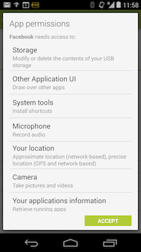 Facebook permissions on Android