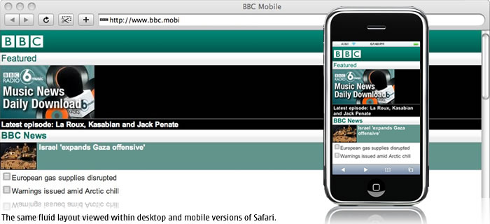 The same fluid layout viewed within desktop and mobile versions of Safari.