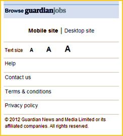 Image shows: Guardian mobile site with options to switch to desktop site.