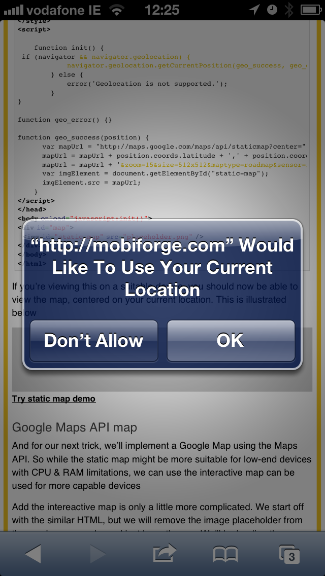 Image depicting iPhone browser requesting access to location data