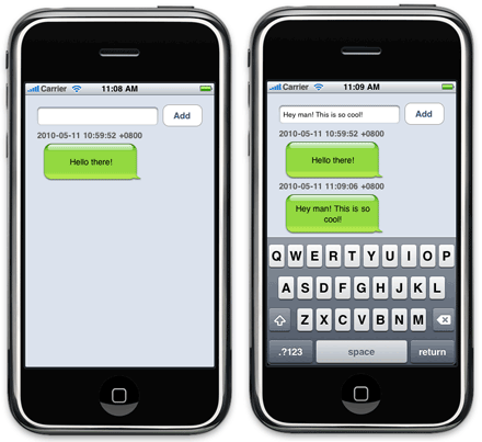 sms bubble ui in iphone apps mobiforge. Black Bedroom Furniture Sets. Home Design Ideas