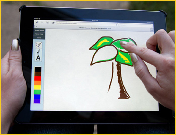 Image shows: a picture being drawn using a finger on a touchscreen
