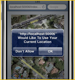 Image shows: a dialogue requesting permission to access location.