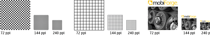 Illustration showing a simulation of images viewed on 72, 144 and 240 ppi (pixels-per-inch) screen resolutions.
