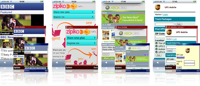 Screenshots of the BBC, Zipiko, XBox and UPS mobile sites.