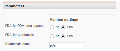 PDA_mambot settings