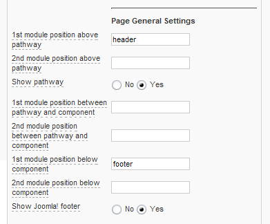 Joomla Page General Settings