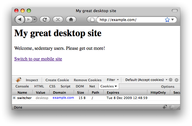 Desktop user agent, desktop site