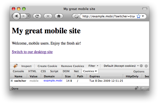 Desktop user agent, mobile site