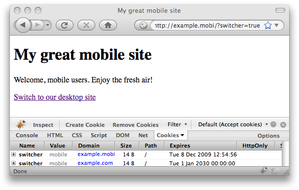 Desktop user agent, redirected to mobile site