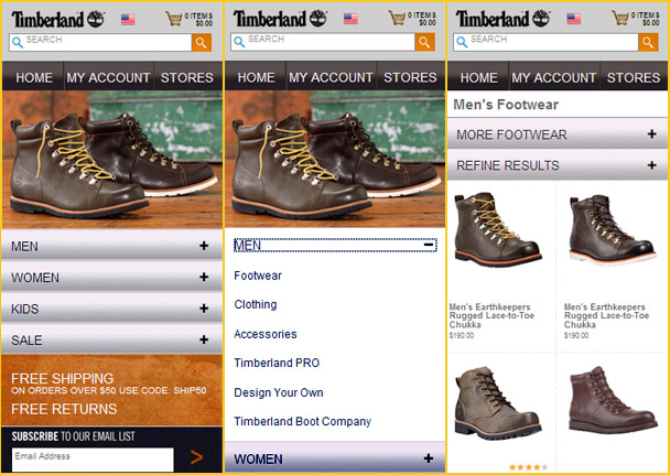 Image shows; Timberland m-commerce site accordion menu