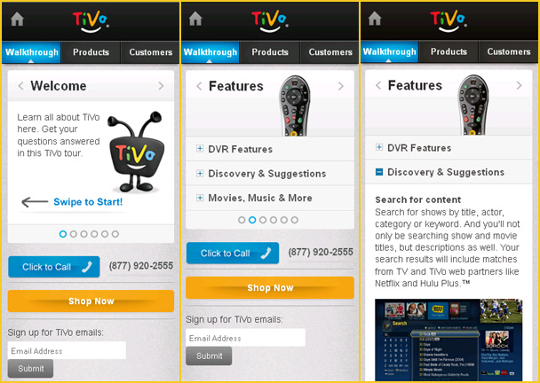 Image shows: Tivo's mobile site with slider and accordion menu