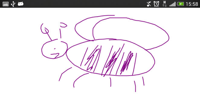 Purple bumblebee drawn on touch screen