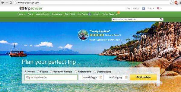 Tripadvisor desktop homepage