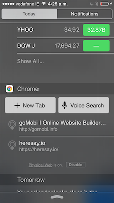 iOS Chrome nearby beacons in today widget