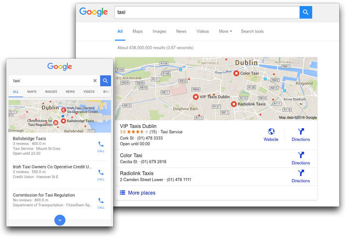 Google search call-to-actions