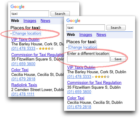 Google search for taxi with manual location settings