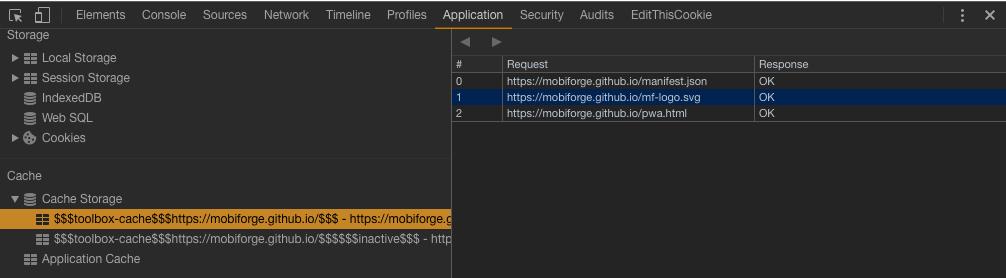 Progressive web app cache