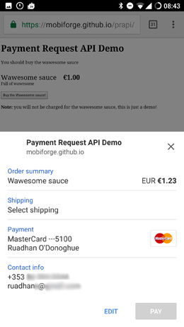 Payment request api shipping and contact options