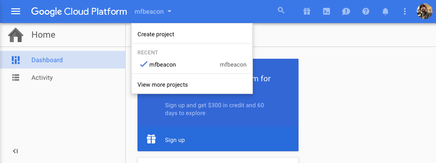 Setting up a Google Cloud App project