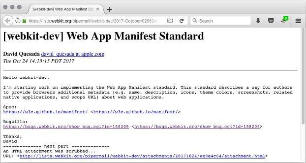 WebKit web app manifest
