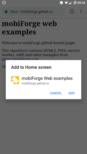 Adding web share target to homescreen